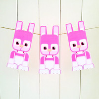 Kids Easter Craft Activity. Pink Easter Bunny printable paper toy. Instant download. Make you own Easter Bunny cards, banners and bunting!
