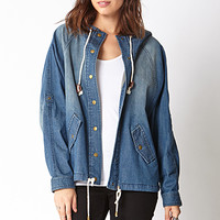 LOVE 21 Life In ProgressTM Faded Denim Parka Medium Denim