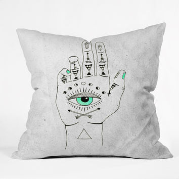 Wesley Bird Eye See Hamsa Throw Pillow
