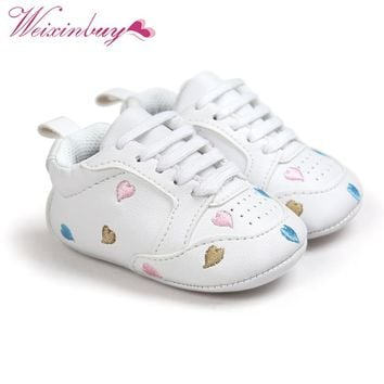 2017 baby boys shoes sneakers Newborn Girls Heart Star Pattern First Walkers Kids Toddlers Lace Up PU Sneakers 0-18 Months
