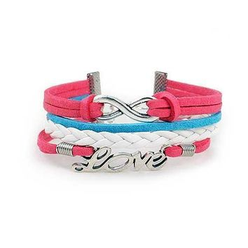Infinity Love Bracelet (Pink  Blue and White)