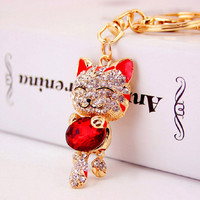 Lucky Cat Crystal Rhinestone keychain keyring for car