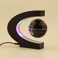 C shape LED World Map Decoration Magnetic Levitation Floating Globe Light #isps (Color: Black) [7641001926]