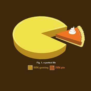 A Perfect Life: 80 percent Gaming 20 percent Pie - Geeky Gaming Shirt. 100% Cotton. Mens, womens and kids sizes. A bit of gaming geekery.