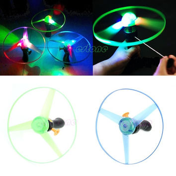 1pc Spin LED Light Outdoor Toy Frisbees Boomerangs Flying Saucer Helicopter UFO = 1946433860