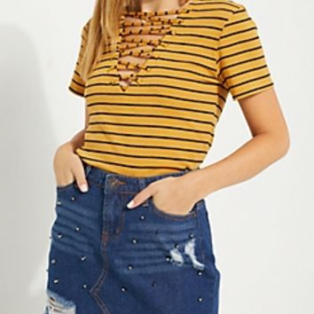 Green Striped Lace Up Rib Knit Tee