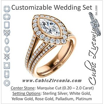CZ Wedding Set, featuring The Maricela engagement ring (Customizable Bezel-Halo Marquise Cut Ring with Wide Tapered Pavé Split Band & Decorative Trellis)