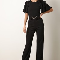 Ruffle Tiered Sleeves Belted Flared Jumpsuit