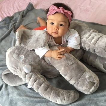Baby Elephant Pillow Animals Toys No blanket Soft Plush Dolls Toddle Safe Sleep Calm Toys Room Bed Decoration 5colors choose