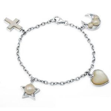 Sterling Silver Freshwater Pearl & Mother-of-Pearl Cross Star Heart Moon Charm Bracelet