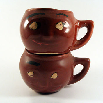 Vintage Smiley Face Pottery Mugs