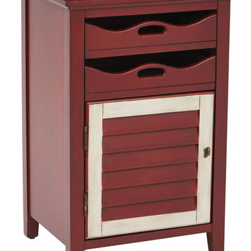 Office Star Charlotte Chair Side Table in Vintage Wine w/ Oatmeal Finish