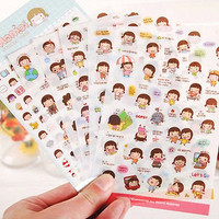 6X Cartoon Girl Diary Planner Stickers Biscuits Scrapbook Calendar Decor 3C