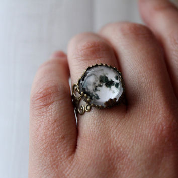Full Moon Lacy Ring - Wanderlust Collection - Adjustable Ring,Valentines Day, Galaxy, Universe, Outer Space