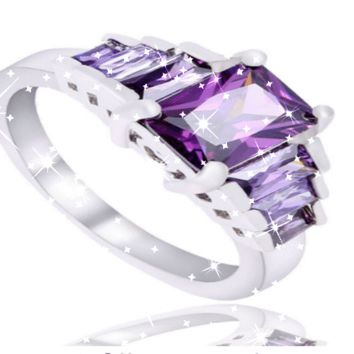 Beautiful Everyday Ring!  Sterling Silver & AAA Rated Purple CZ Stones