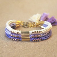 Set of three bracelets with tassel charms, purple bracelets, purple ombre, friendship bracelets