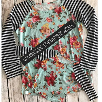 In Stock Mommy and me Rose & Stripes spring raglan