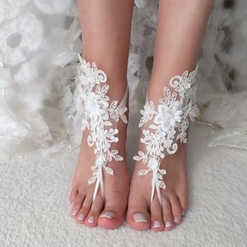 ivory Beach wedding barefoot sandals 3D flower wedding shoes prom party lace barefoot sandals bangle beach anklets bride bridesmaid gift