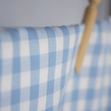 Vintage Blue & White Checkered Fabric, baby blue large gingham cotton lawn 1.3 metres