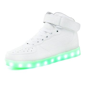 Quality High Top Led Light Up Shoes Flashing Rechargeable Sneakers For Mens Womens Girls Boys