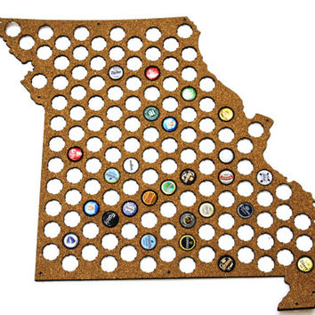 Beer Cap Map MISSOURI State USA, Beer Cap Holder, Beer Cap Display, Beer Aficionado Gift for Him, Groomsmen gift, Father's Day Cork, Plywood