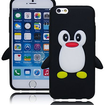 Protective Durable Silicone Black Penguin Design Case  Apple iPhone 6, 4.7""