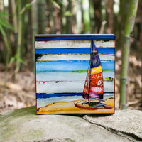 ART PRINT Block on wood canvas, Sailboat, Beach art,coastal print, beach decor, mixed media, canvas art,nautical print,summer gift,All Sizes