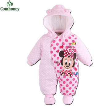 Baby Rompers Minnie Mouse Cartoon Winter Coverall Boy Clothing Infant Overcoat for Girl Warm Jumpsuit Bebes Newborn Clothes