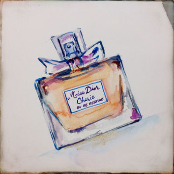 ORIGINAL Miss Dior Perfume Watercolor Painting - Iconic Fashion, Dior, Fashion Illustration, Chanel Art, Fashion Art, Celine