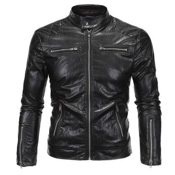 2017 New Arrivals David Beckham Same Stye Real Leather Jacket Big Size 5XL Men Vintage Fashion Motorcycle Jacket   A3079