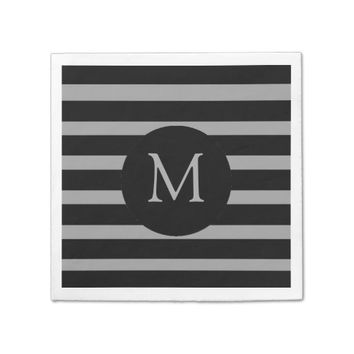 Modern Gray and Black Stripes Monogram Paper Napkin