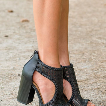 Look of Love Laser Cutout Braided Booties Black CLEARANCE