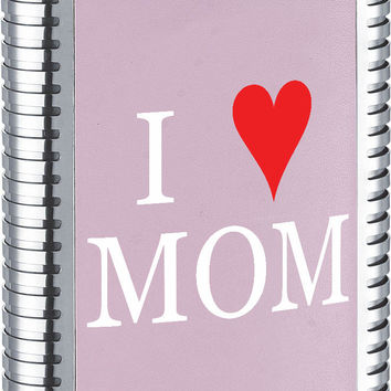 Visol Mother's Day I Love Mom Pink Leather Flask