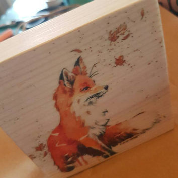 Super cute fox photo wood block transfer... home decor pine block fox print shabby chic