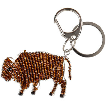 Bison Body Beaded Keychain