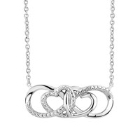 Two Hearts Forever One Diamond Accent Sterling Silver Heart Infinity Necklace