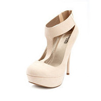 Sueded T-Strap Ankle Cuff Pump: Charlotte Russe
