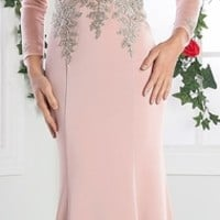 Cinderella Divine 8916 Long Sleeves Sheer Applique Bodice Blush Sheath Evening Gown (3 Colors Available)