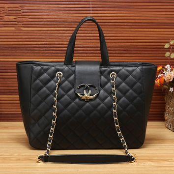 """Chanel"" Simple Fashion Quilted Metal Chain Single Shoulder Bag Women Temperament Large Shopper Tote Handbag"