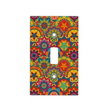 Funky Retro Colorful Mandala Pattern Light Switch Cover
