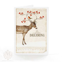Deer Christmas card, Woodland, Red Berries, Robin, Christmas Card, Dreaming, White Christmas