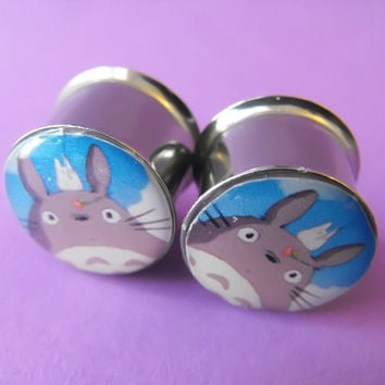 My Neighbor Totoro picture plugs gauges by NerdalieCreates on Etsy