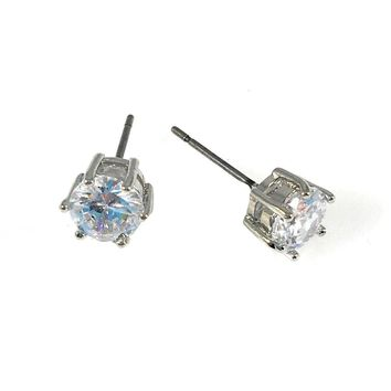 Cubic Zirconia Earrings Round Stud 6mm