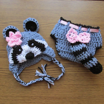 Racoon hat  and diaper pattern, crochet racoon pattern - Newborn up to 12 months