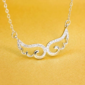 The sweet wings of angel wings necklace,925 sterling silver necklace, a perfect gift