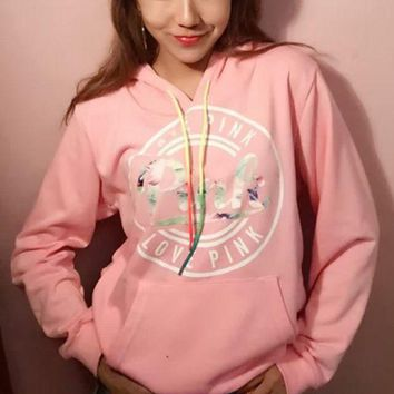 ONETOW Victoria's Secret ' PINK Women's Fashion Print Hooded Pullover Tops Sweater