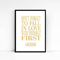 Carrie Bradshaw Quote - Sex and the City Quote - Poster Print - Typography Quote Gold Print Typography Poster Fashion Print Printable art