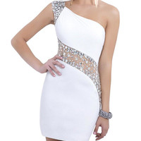 White One Shoulder  Homecoming Dresses,Crystals  Homecoming Dresses,Homecoming Dress