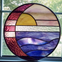 Moon and Sun Over Water Round Stained Glass Panel / Suncatcher - Pink and Purple Sunset - Purple Glass - Coastal Art - Beach Decor -Nautical