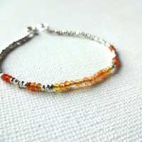 Handmade Karen Hill Tribe 925 Sterling Silver Beads and Natural Orange & Red Carnelian Cluster Beaded Bracelet or Anklet - Colorful Jewelry